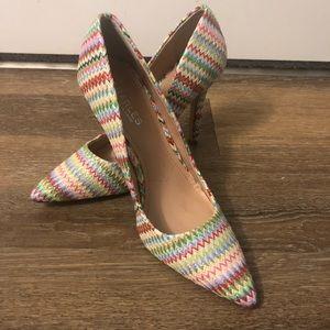 Multi-color Charles David Zig Zag Heels - Size 9